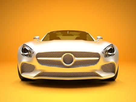 dream car: Deportes Vista delantera del coche. La imagen de un coche blanco deportes sobre un fondo de oro