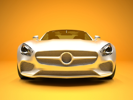 car model: Sports car front view. The image of a sports white car on a gold background