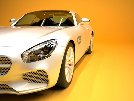 スポーツ車のフロント ビュー。ゴールドの背景に白いスポーツカーのイメージ
