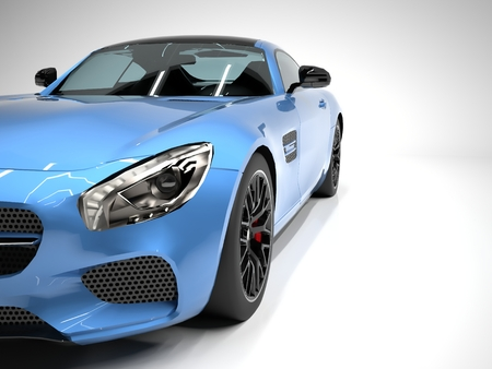 blue: Sports car front view. The image of a sports blue car on a white background Stock Photo