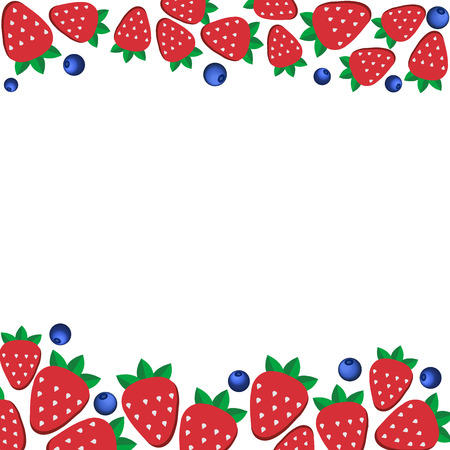 Background Of Fresh Strawberries In Flat Style. Design Template ...