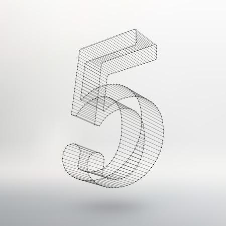 ベクトル低ポリ番号フォントです。ポリゴン数のアルファベット。ベクトル図  イラスト・ベクター素材