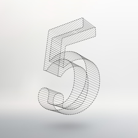 Vector low poly numbers font. Polygon number alphabet. Vector illustration