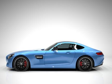 スポーツ車の左側面。白地に青いスポーツカーのイメージ