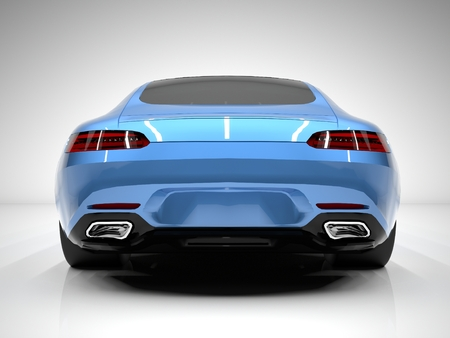 rear view: Sports car rear view. The image of a sports blue car on a white background.