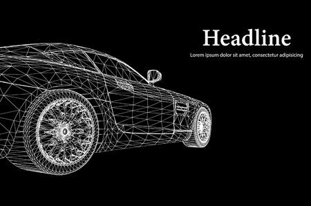 Abstracte creatieve concept achtergrond 3d model auto