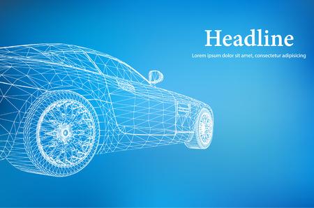 El concepto de fondo abstracto creativo del modelo del coche 3d Foto de archivo - 44591669