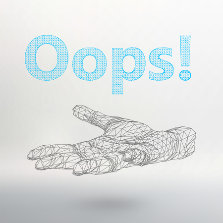 oups: illustration the inscription - Oops. Molecular lattice. Structural mesh of polygons on a white background