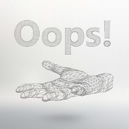 disconnection: illustration the inscription - Oops. Molecular lattice. Structural mesh of polygons on a white background