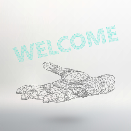 locution: The inscription - Welcome. Molecular lattice. Structural mesh of polygons on a white background