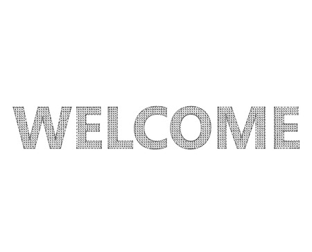 locution: The inscription - Welcome. Molecular lattice. Structural mesh of polygons on a white background. Illustration
