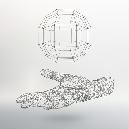 The hand holding a sphere Illustration