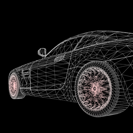 Abstract Creative concept background of 3d car model