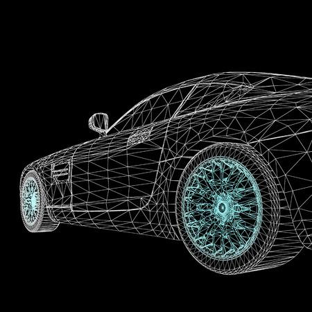 3 d の車のモデルの創造的な概念を抽象的な背景  イラスト・ベクター素材