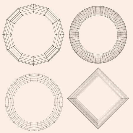 lattice frame: Abstract vector decorative frame. Mesh poligonal. Molecular lattice. The structural grid of polygons Illustration