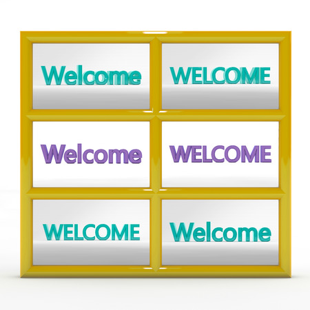 homogeneous: Set of six 3d labels - welcome. Large letters on a homogeneous background.