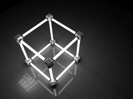 tubos fluorescentes: Glowing cubos de tubos fluorescentes. Composición abstracta de las instalaciones de procesamiento geométrico