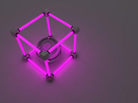 tubos fluorescentes: Glowing cubes of fluorescent tubes. Abstract composition of geometric processing facilities