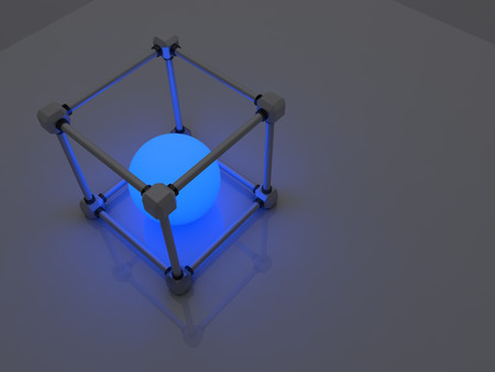 fluorescent tubes: Glowing cubes of fluorescent tubes. Abstract composition of geometric processing facilities