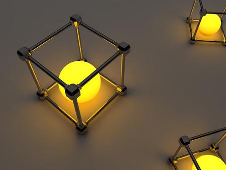 tubos fluorescentes: Glowing cubos de tubos fluorescentes. Composici�n abstracta de las instalaciones de procesamiento geom�trico