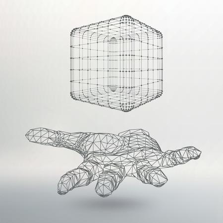 行とドットの腕にキューブ。線のキューブを持っている手は、ポイントに接続します。バック グラウンドでのオブジェクトのシャドウ