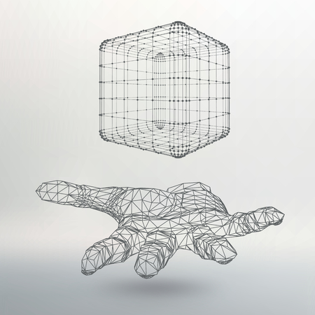 Cube of lines and dots on the arm. The hand holding a cube of the lines connected to points. The shadow of The objects in the background Illustration