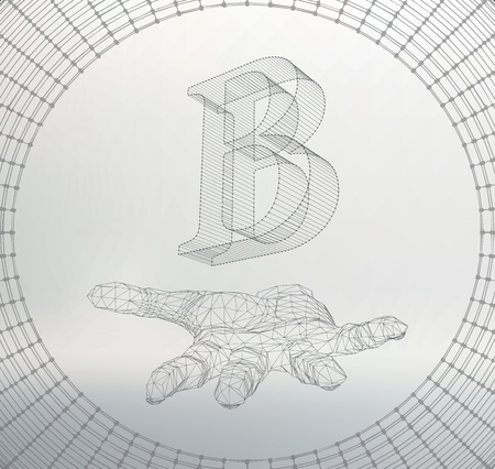 studio b: the letter B, of lines and dots on the arm. The hand holding letter of the lines connected to points. Molecular lattice. The structural grid of polygons. White background. The facility is located on a white studio background