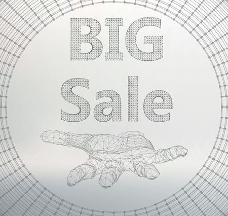 cordial: Vector illustration of big sale. Molecular lattice. Structural mesh of polygons on a white background