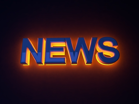 good news: Bright illuminated sign news. Orange neon glow
