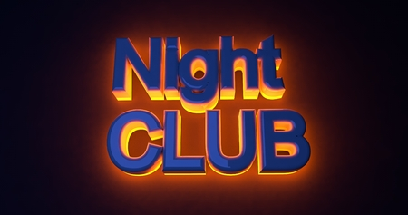 night club: Neon sign illuminated night club. Orange light