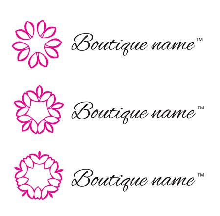 rose tattoo: Logo design for Boutique and Flower company. Floral monogram design template. Vector illustration Illustration