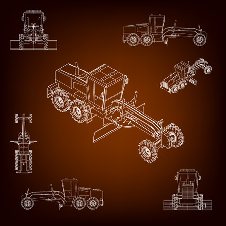 hand truck: Grader, road scraper. Construction machinery. Parallel projection. Perspective view of the vehicle. Set of a plurality of images. Contour lines. Silhouettes of construction machinery