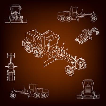 maquinaria: Motoniveladora, raspador carretera. Maquinaria de construcción. Proyección paralela. Vista en perspectiva del vehículo. Conjunto de una pluralidad de imágenes. Lineas de contorno. Siluetas de maquinaria de construcción Vectores