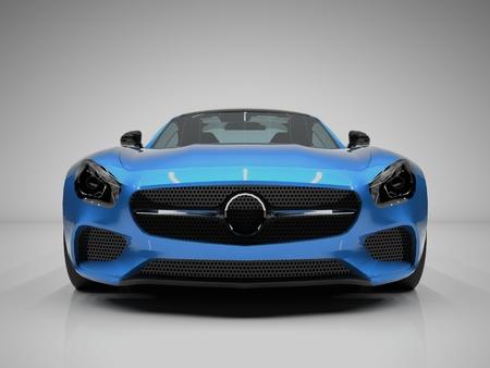 Sport auto vooraanzicht. Het beeld van een sportieve blauwe auto op een witte achtergrond