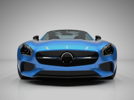front wheel drive: Sports car front view. The image of a sports blue car on a white background Stock Photo