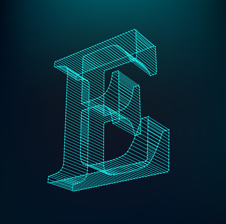 The letter E. Polygonal letter. Low poly model. The three-dimensional mesh. Volume mesh character