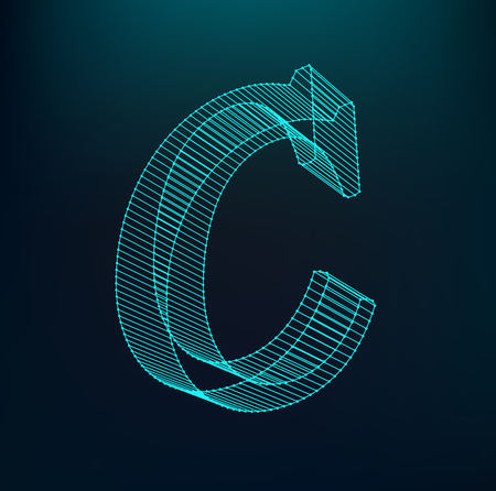The letter C. Polygonal letter. Low poly model. The three-dimensional mesh. Volume mesh character