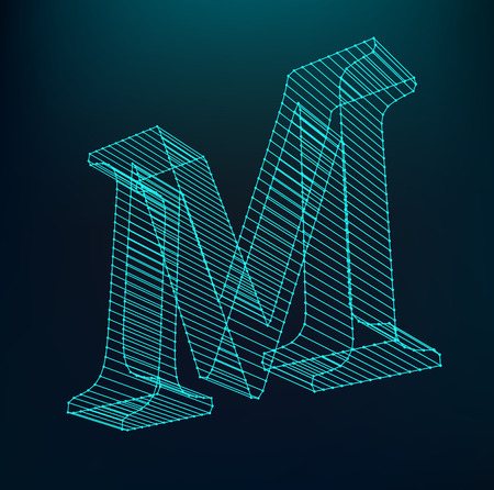 The letter M. Polygonal letter. Low poly model. The three-dimensional mesh. Volume mesh character