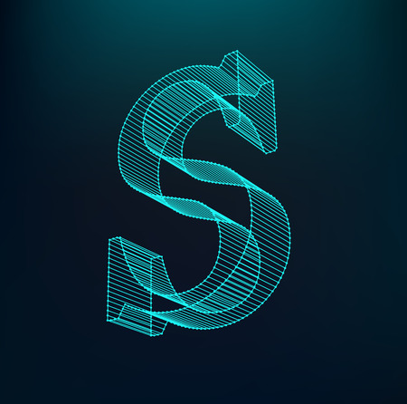 The letter S. Polygonal letter. Low poly model. The three-dimensional mesh. Volume mesh character