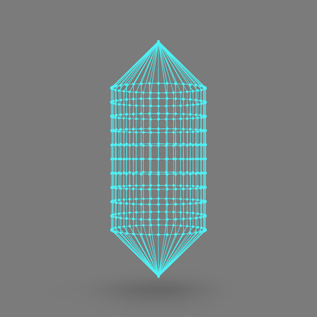 constructive: Polygonal capsule. The capsule of the lines connected dots. Atomic lattice. Driving constructive solution tank. White gradient background