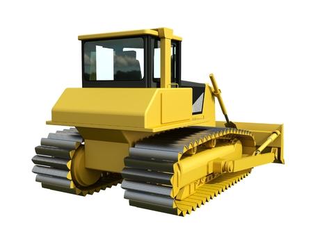 bulldozer: Three-dimensional raster illustration of a bulldozer. Yellow bulldozer. Construction machinery Stock Photo