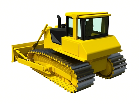 construction machinery: Three-dimensional raster illustration of a bulldozer. Yellow bulldozer. Construction machinery Stock Photo