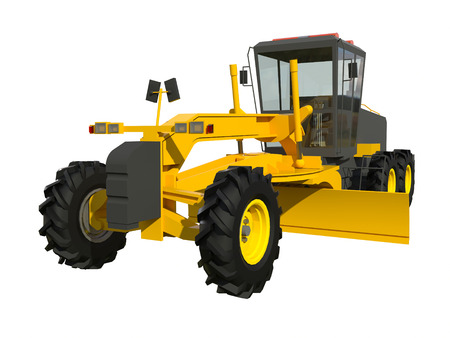 grader: Grader. Construction machinery. Three-dimensional model of a construction machine. Raster illustration. Rendering object