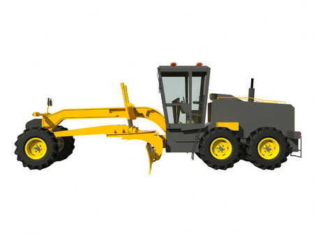 maintainer: Grader. Construction machinery. Three-dimensional model of a construction machine. Raster illustration. Rendering object