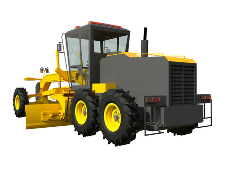 road scraper: Grader. Construction machinery. Three-dimensional model of a construction machine. Raster illustration. Rendering object