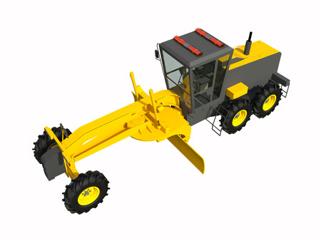 Grader. Construction machinery. Three-dimensional model of a construction machine. Raster illustration. Rendering object