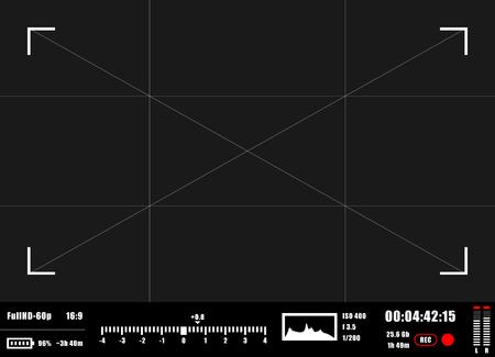 カメラのファインダーの rec の背景。カメラのフォーカシング スクリーン