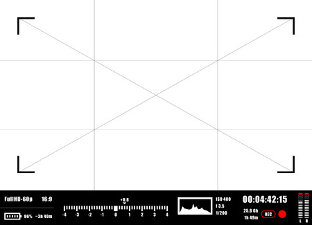 aperture grid: Camera viewfinder rec background. Camera focusing screen