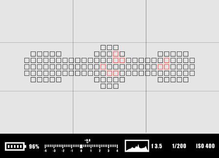 shutter speed: Camera viewfinder rec background. Camera focusing screen