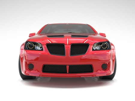 prestige car: Sports car front view. The image of a sports red car on a white background